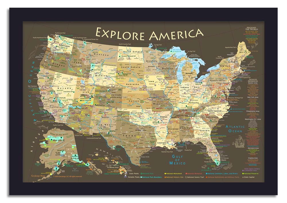 usa travel map brown edition