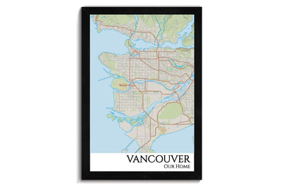 Vancouver City Map Wall Art