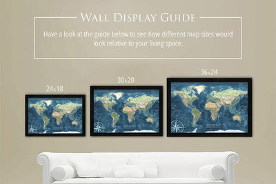 world map sizes on wall
