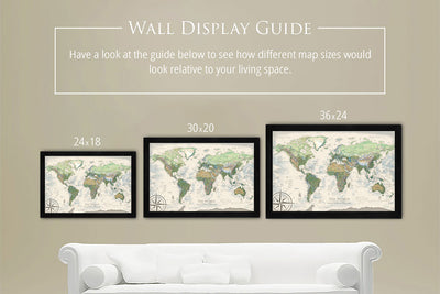 wall map sizes