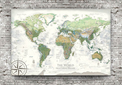 world map poster wall