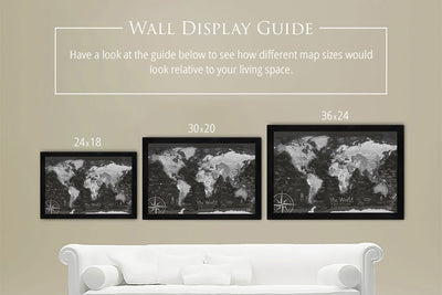 framed world map size comparison on wall