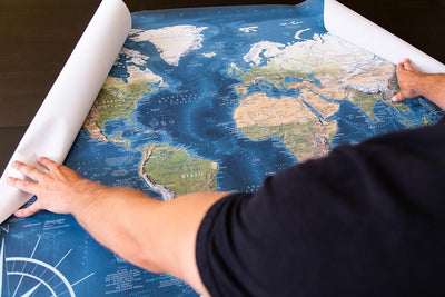 rolled world map decal