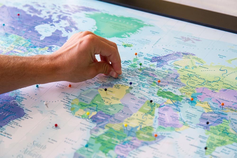 push pins for world map