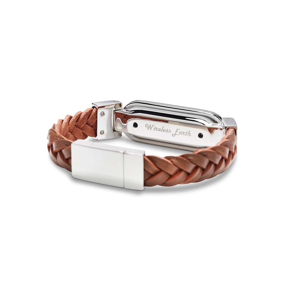 Wireless Earth Bracelet Braided Leather Friar Brown
