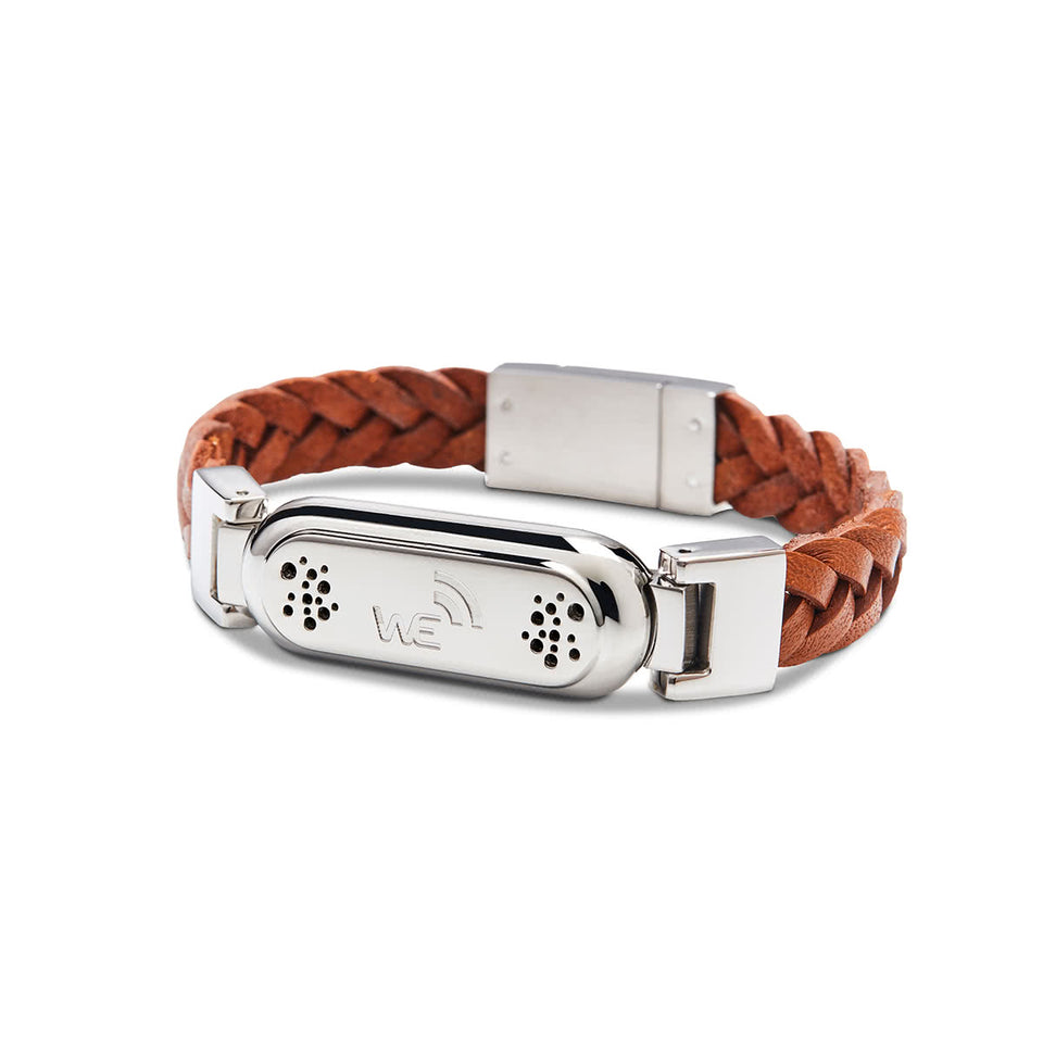 Wireless Earth Bracelet Braided Leather Leather Brown