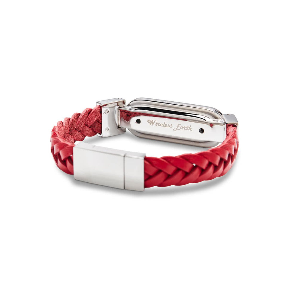 Wireless Earth Bracelet Braided Leather Red