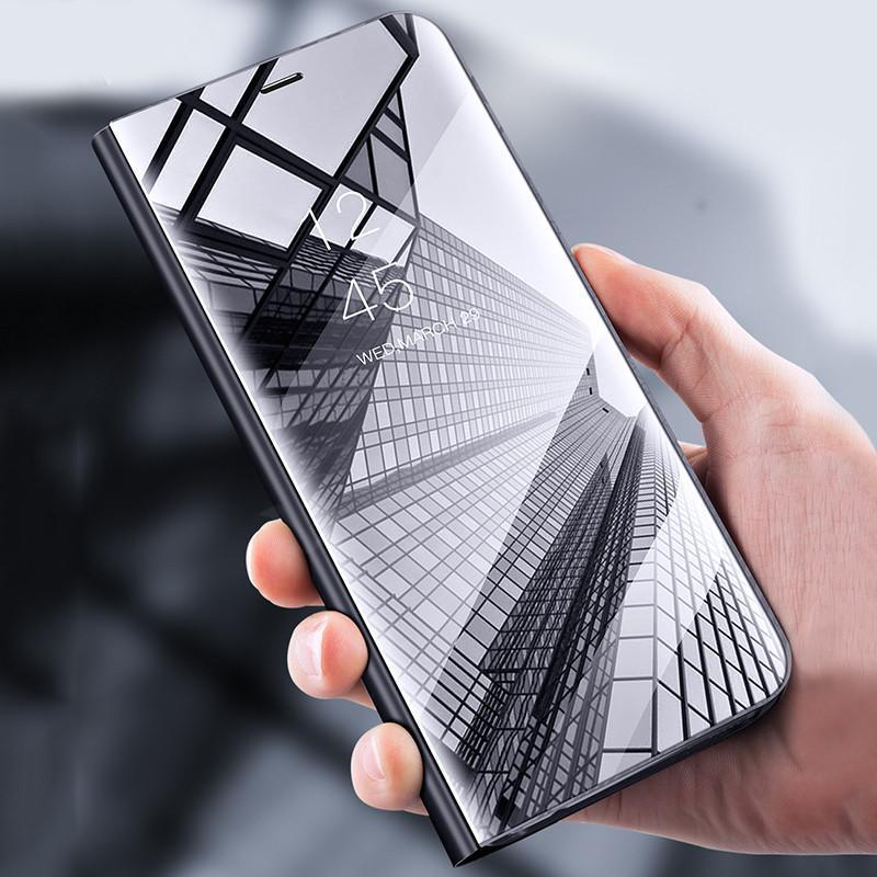 Galaxy A8 Star Mirror Clear View Flip Case (Non-Sensor)