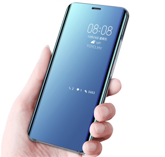 Honor 9 lite Luxury Mirror Clear View Flip Silicone Back Case (Non-Sensor)