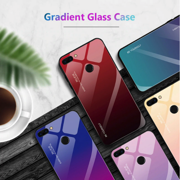 Oppo A7 Aura Gradient Glass Back Silicone Cover