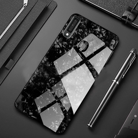 Galaxy M30 Marble Pattern Toughened Glass Back Silicone Cover