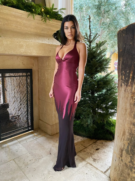 2020 Kourtney Kardashian attempted to host her family's Christmas party on 3 extremely rare dresses