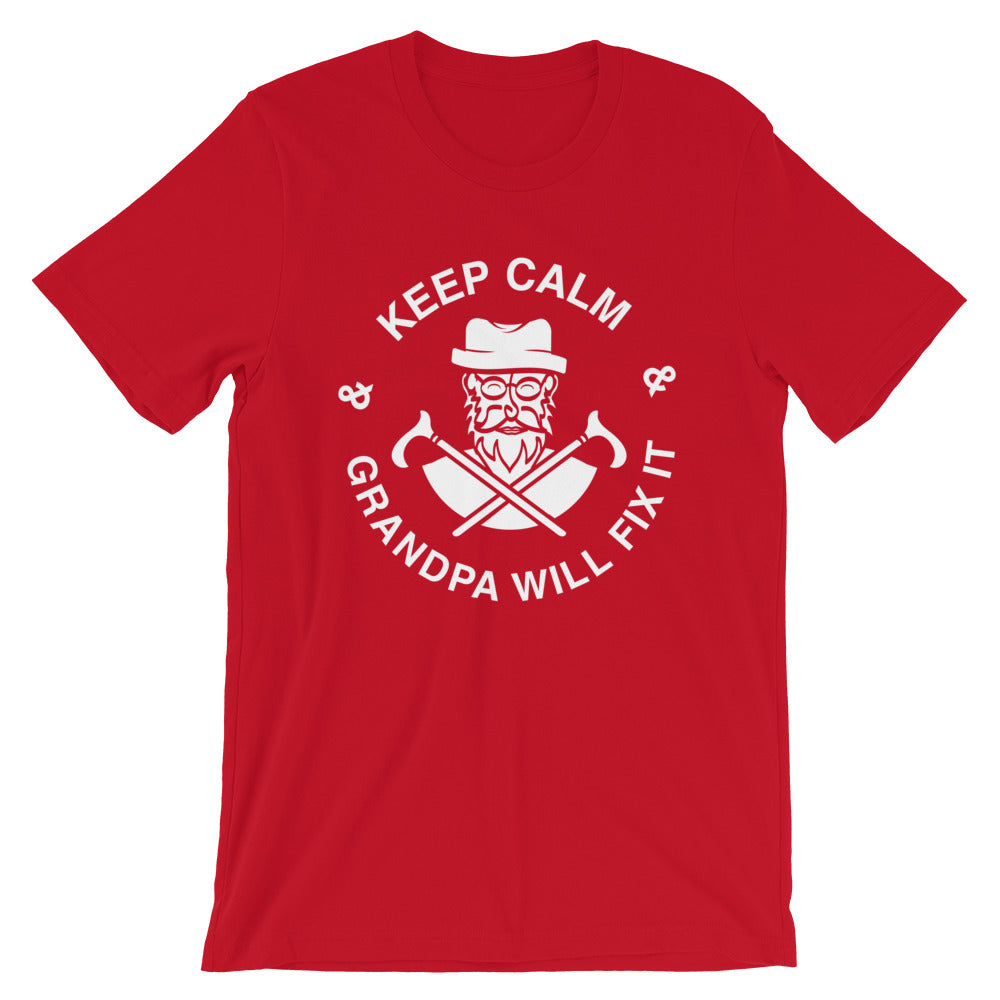 Keep Calm grandpa Will Fix It Short-Sleeve Unisex T-Shirt