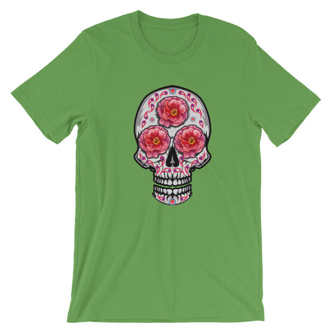 Image of 3 Roses Skull Short-Sleeve Unisex T-Shirt