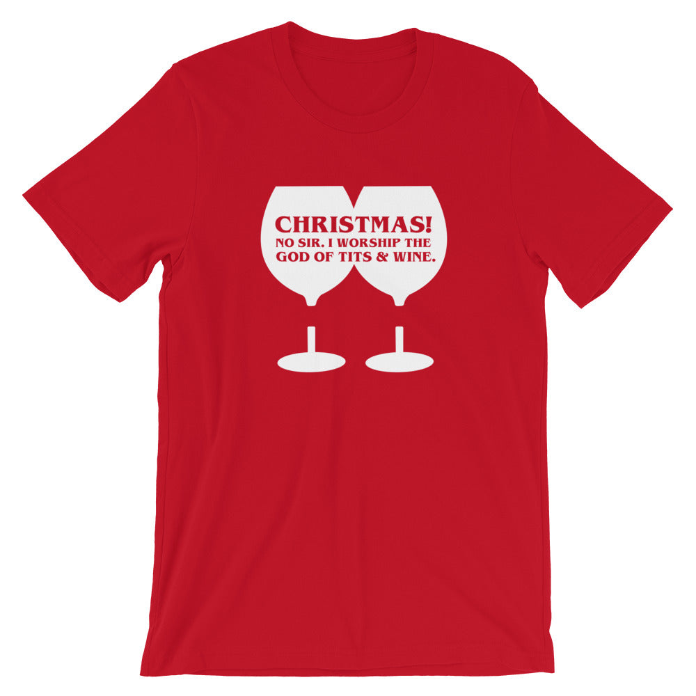 Christmas Wine lover gifts I Am The God of Tits and Wine T-Shirt