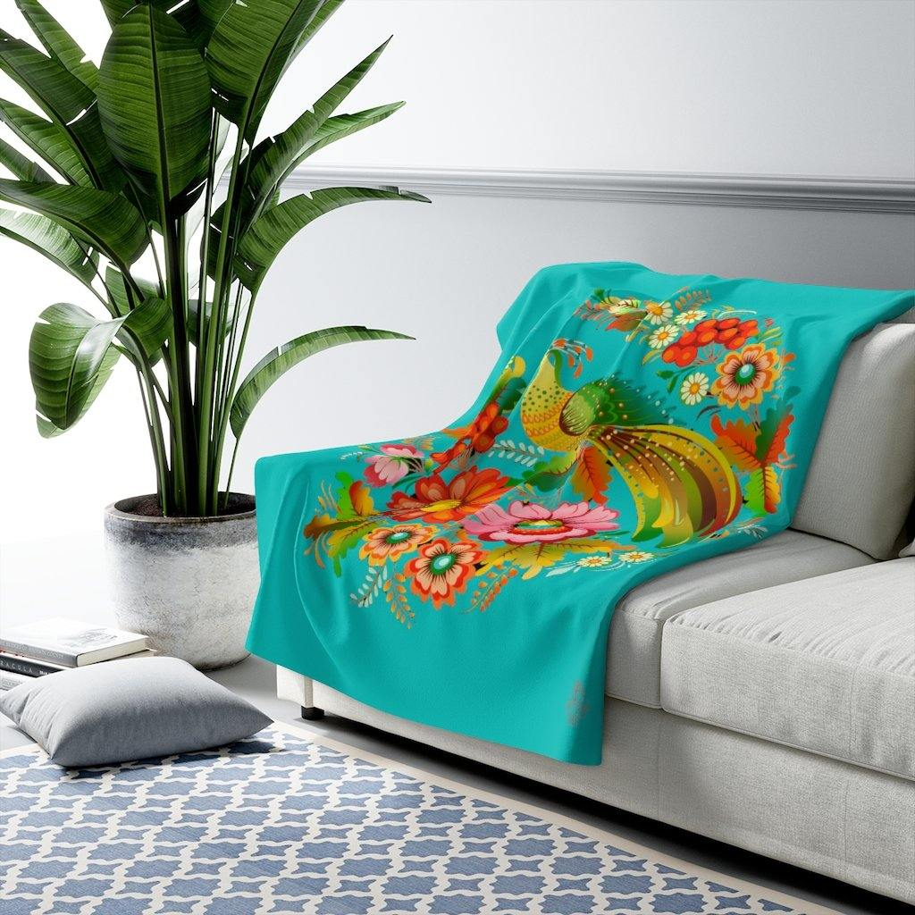 Robins Egg Blue Petrykivka Sherpa Fleece Blanket | Verba Design Co.