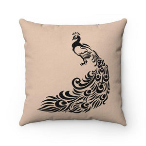 PEACOCK Faux Suede Throw Pillow