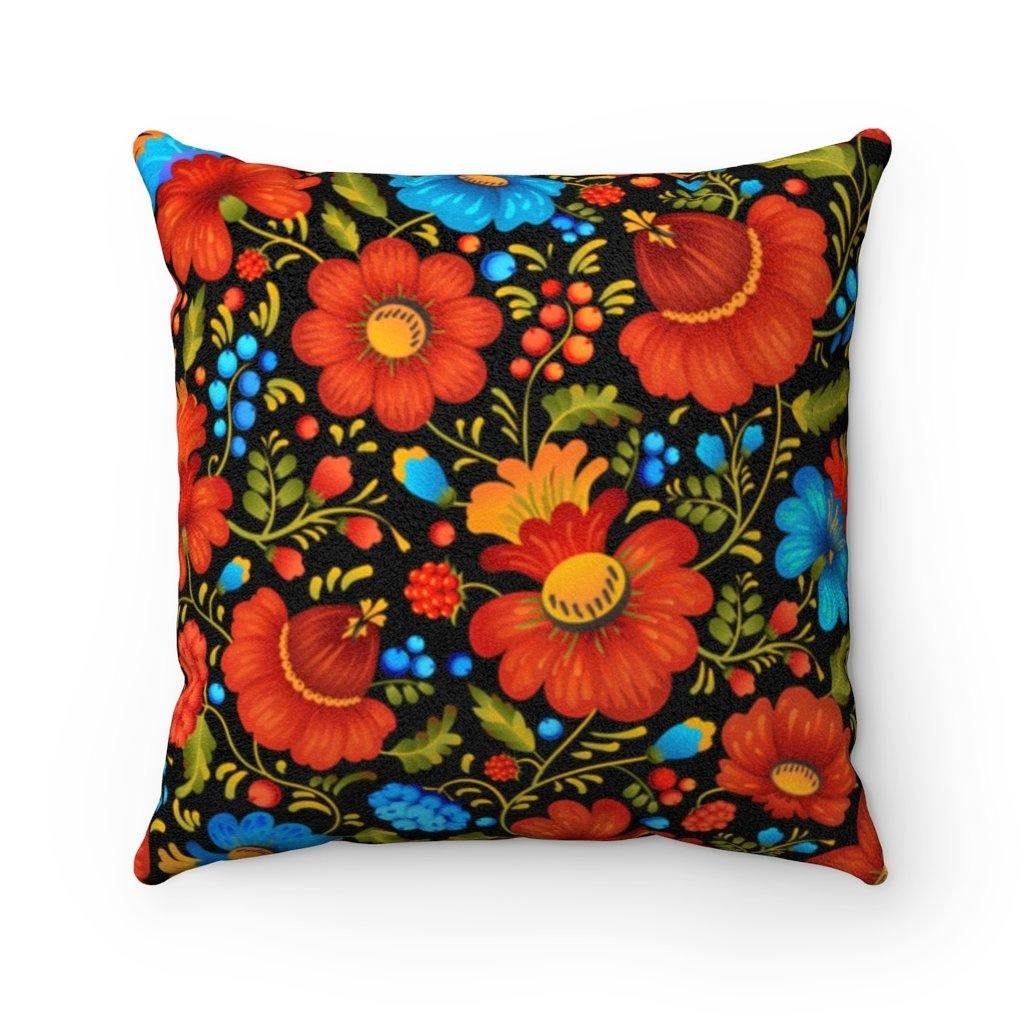BLUEBERRIES & ROSEHIPS Faux Suede Pillow | Verba Design Co.