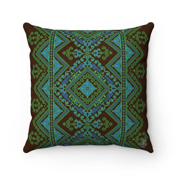 FOLK BLUE Faux Suede Throw Pillow | Verba Design Co.