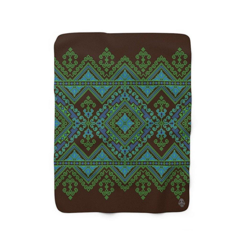 FOLK BLUE Sherpa Fleece Blanket | Verba Design Co.