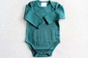 Babu Organic Cotton Bodysuit (Tui Green)  with Sleeves | Newborn Baby Gift | The Gift Loft (NZ)
