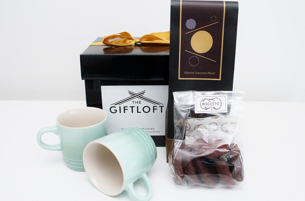 Le Creuset Coffee Sage 200 ml Mugs & Allpress Coffee Hamper | Gift for Men & Women | The Gift Loft (NZ)