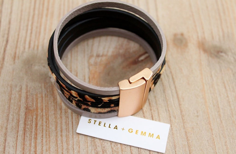 Stella + Gemma Taupe Leopard Wrap Bracelet | Fashion Accessory | The Gift Loft (NZ)