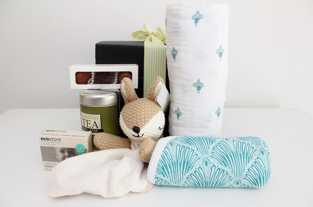"""Welcome Baby"" with Baby Essentials & New Mum Tea & Treats - Deer Comforter  
