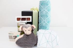 """Welcome Baby"" with Baby Essentials & New Mum Tea & Treats - Monkey Comforter  