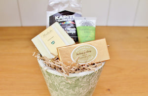Green & White Vintage Leaves Planter & Pamper Treats | CC Interiors | The Gift Loft (NZ)