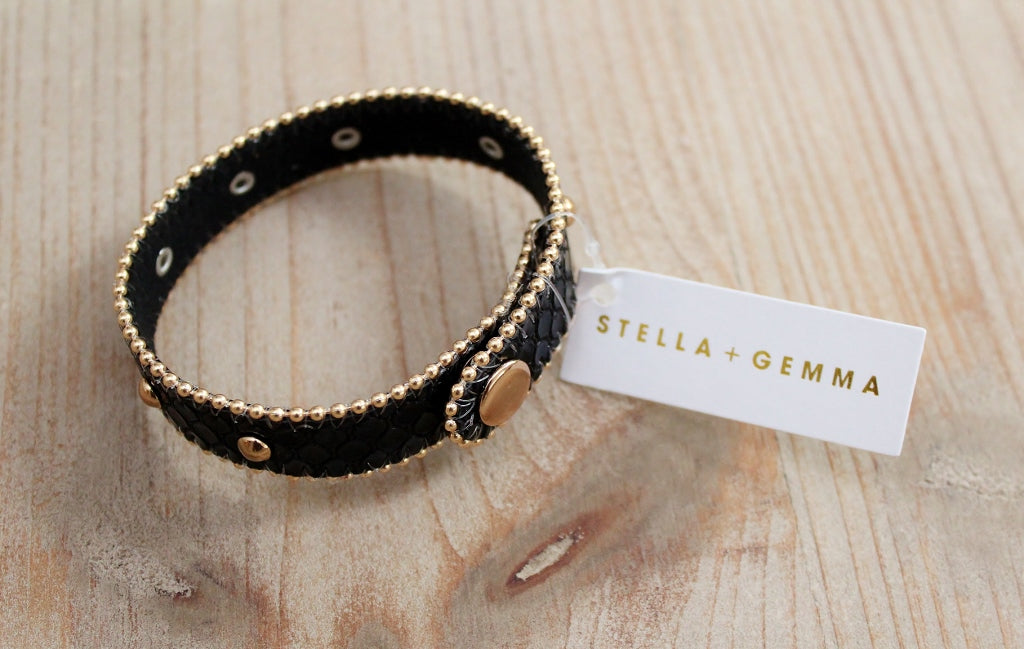 Stella + Gemma Black Croc Wrap Bracelet | Gift for Her | The Gift Loft (NZ)