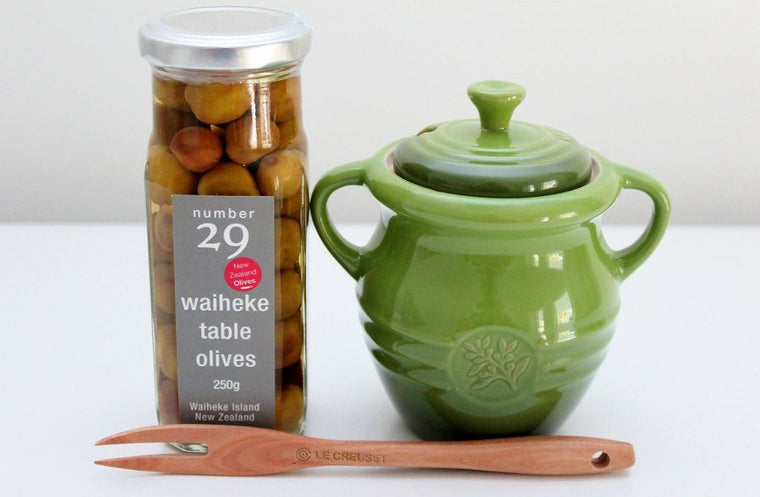Le Creuset Olive Jar with Number 29, Waiheke Island Olives | The Gift Loft (NZ)
