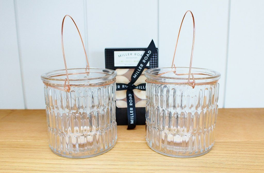 CC Interiors Small Glass Hurricane with Copper Set & Tealights | Gift for Her | The Gift Loft (NZ)