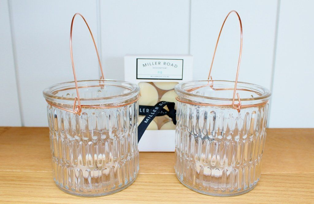 CC Interiors Small Glass Hurricane with Copper Set & Tealights | Homeware | The Gift Loft (NZ)