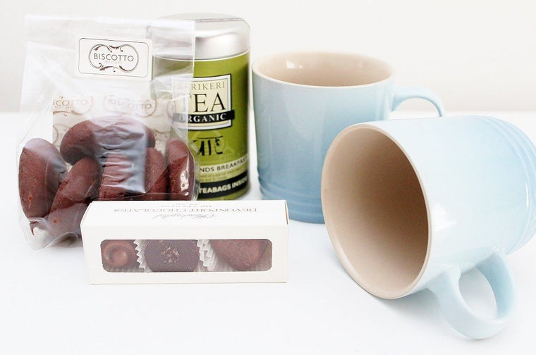 Mother's Day Tea Hamper with Le Creuset Mug & Tea Bag Holder | Birthday Gift for Him | The Gift Loft (NZ)