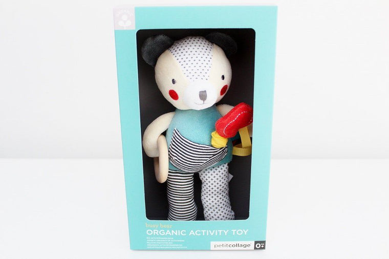 Petit Collage Organic Busy Bear Activity Toy | Baby Gift | The Gift Loft (NZ)