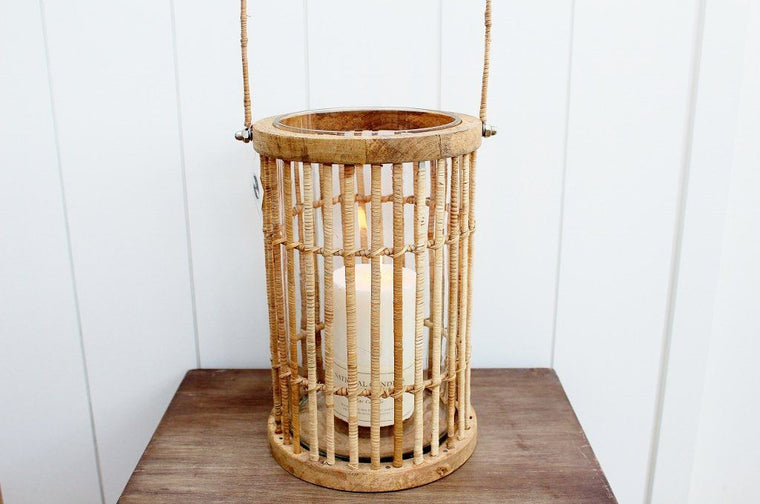 CC Interiors Riviera Rattan Lantern & Pillar Candle | Homeware | The Gift Loft (NZ)