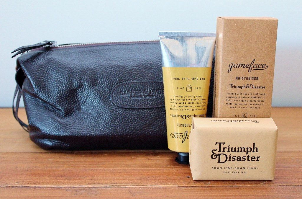Triumph & Disaster Male Grooming Kit & Leather Toilet Bag | Birthday Gift for Men | The Gift loft (NZ)