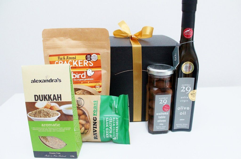 New Zealand Savoury Food Gift Basket With Waiheke Olive Oil Olives