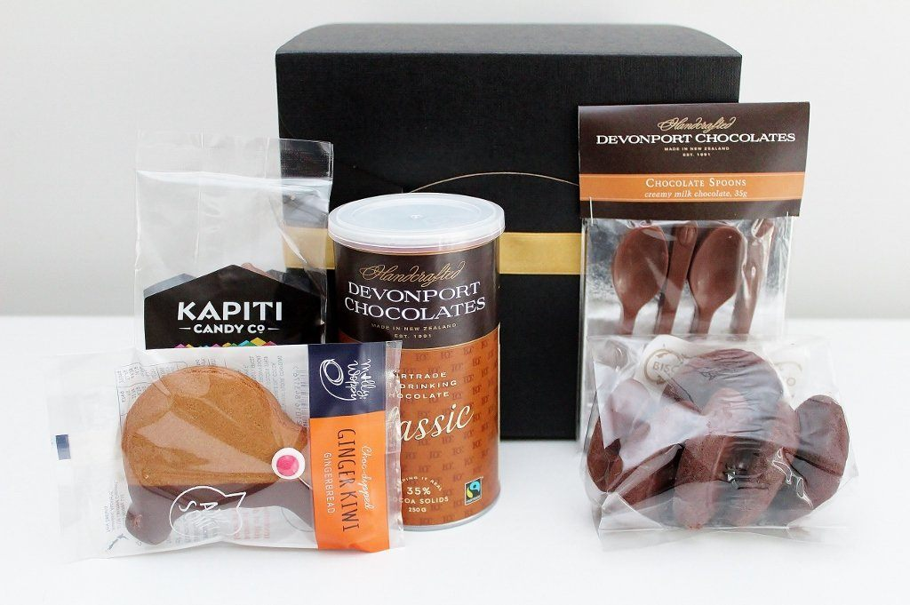 Hot Chocolate & Chocolate Spoons Gift Box | Artisan Chocolate Food Gift Basket | The Gift Loft (NZ)
