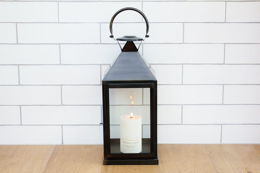 CC Interiors Steel Tall Lantern with Black Finish & Pillar Candle | Homeware Gift Idea | The Gift Loft (NZ)