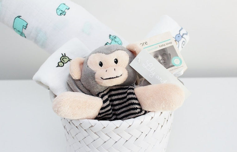 Newborn Baby Gift Basket with Mateo Monkey Comforter | Boy or Girl Gift Idea | The Gift Loft (NZ)