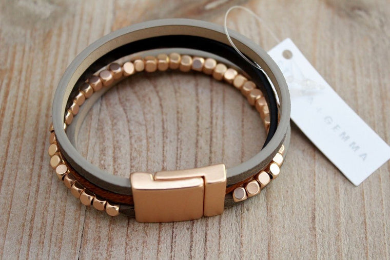 Stella + Gemma Taupe Gold & Grey Leather Wrap Bracelet | The Gift Loft (NZ)