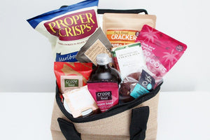 Gluten Free Gourmet Food Hamper in a Jute Picnic Cooler Bag | Christmas Gluten Free Gift Idea | The Gift Loft (NZ)