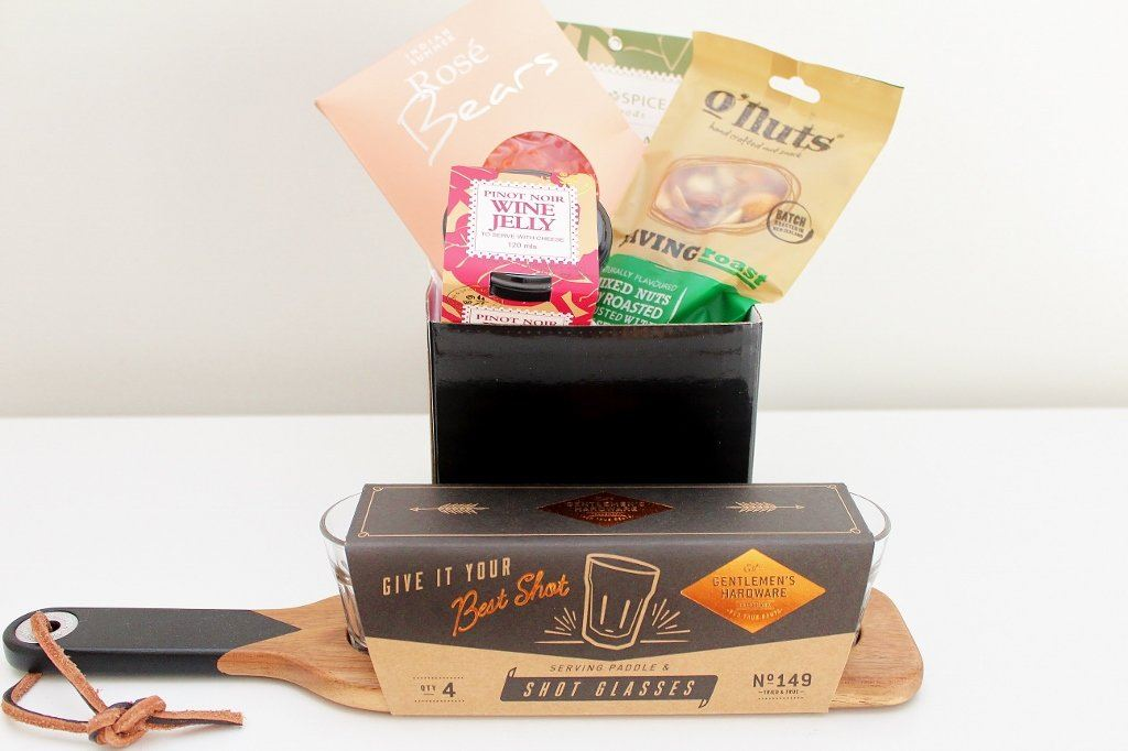 Shot Glasses & Gourmet Treats Hamper | Unique Gift for Men | The Gift Loft (NZ)