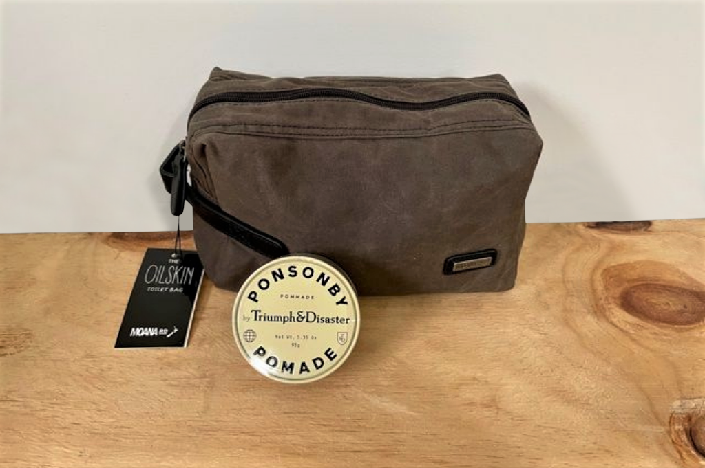Moana Road Oilskin Toiletries bag with Ponsonby Pomade