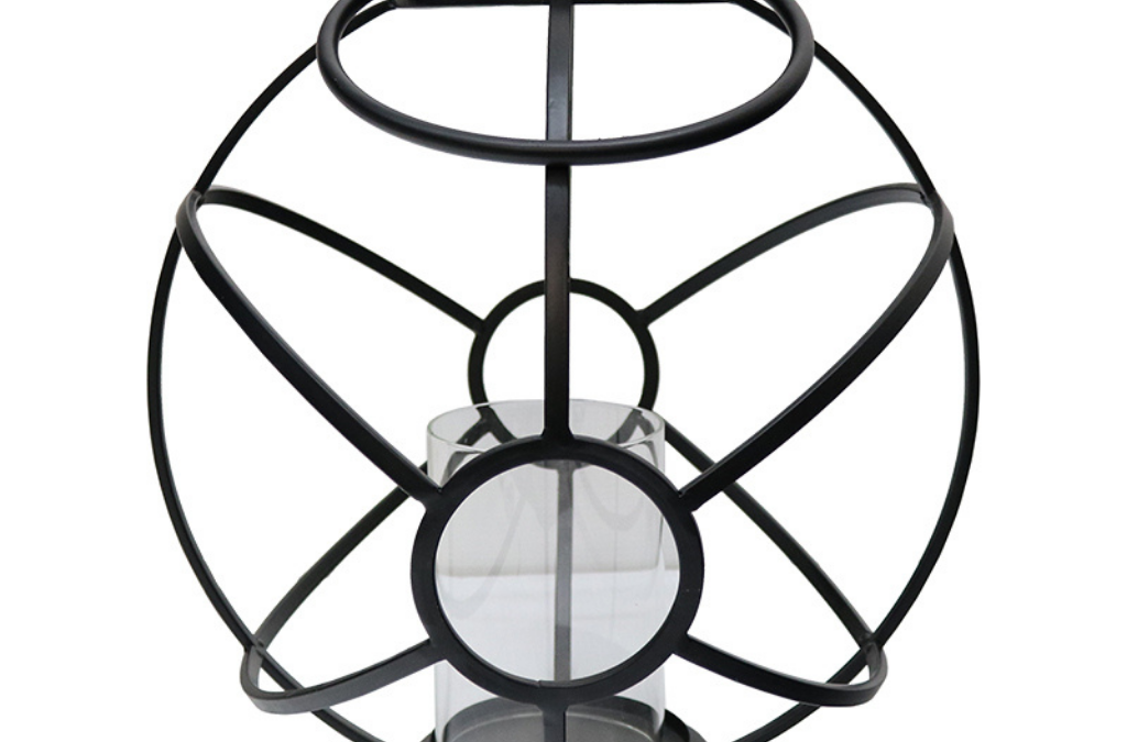 Le Forge Large Deco Lantern with pillar candle