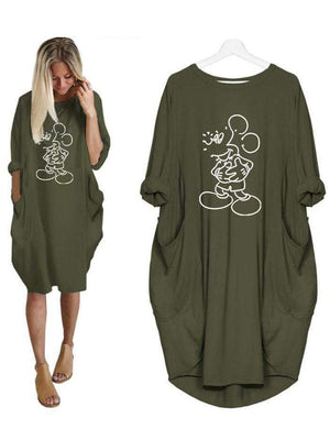 Mickey Mouse Loose Pocket Large Size Dress