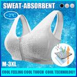 Front Zipper Wirefree Extra Breathable Cooling Bra