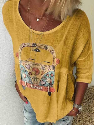 wiccous.com Plus Size Tops Yellow / S Round Neck Car Print T-Shirt